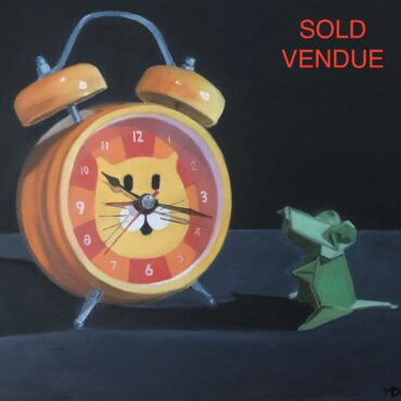 Horloge chat et souris verte / Cat clock and green mouse