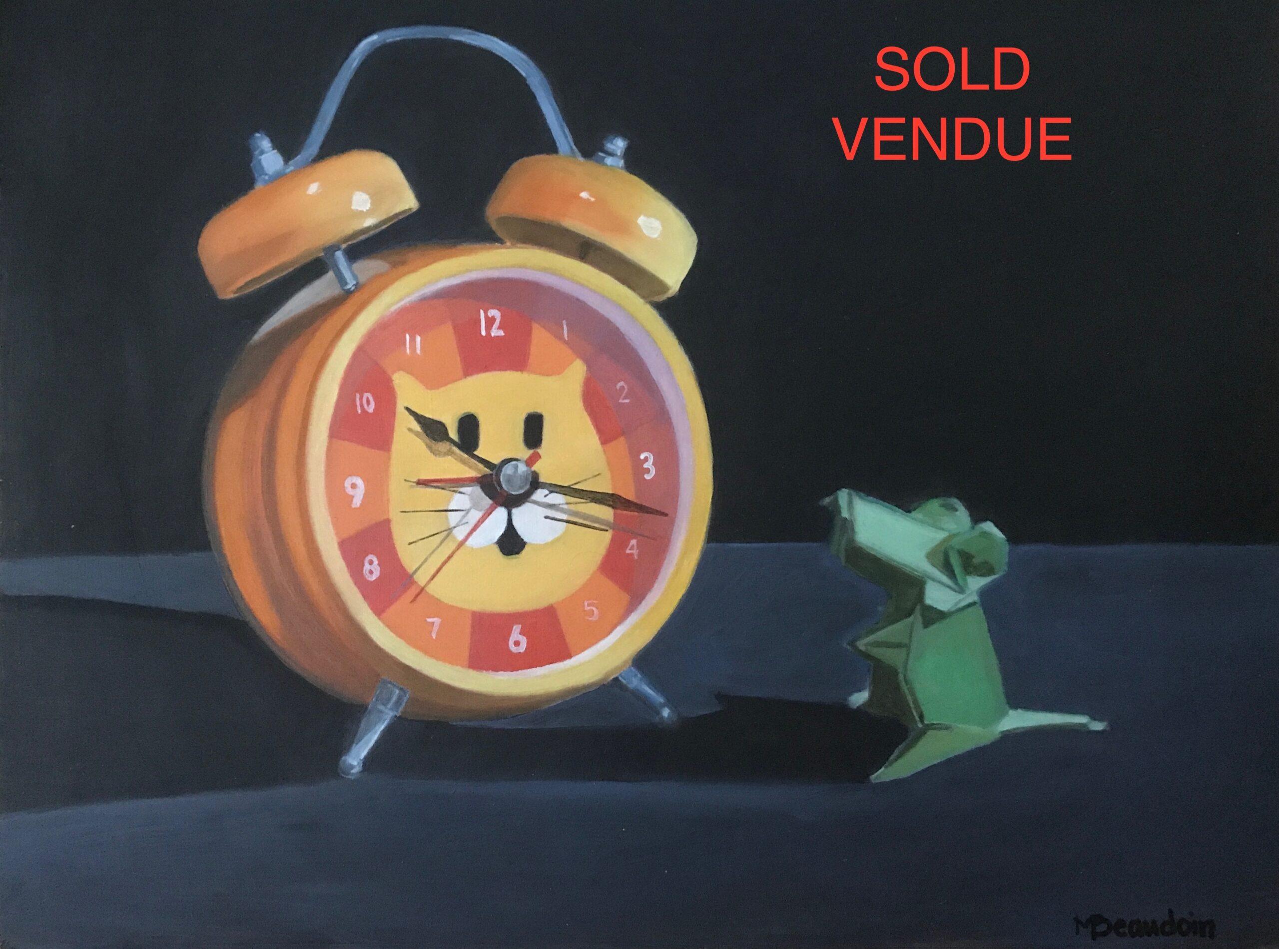 Horloge chat et souris verte / Cat clock and green mouse